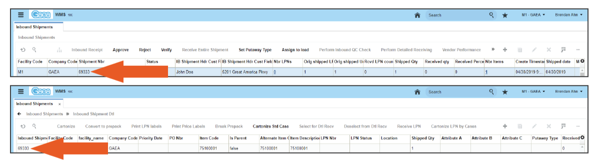 returned item is received in Oracle WMS Cloud